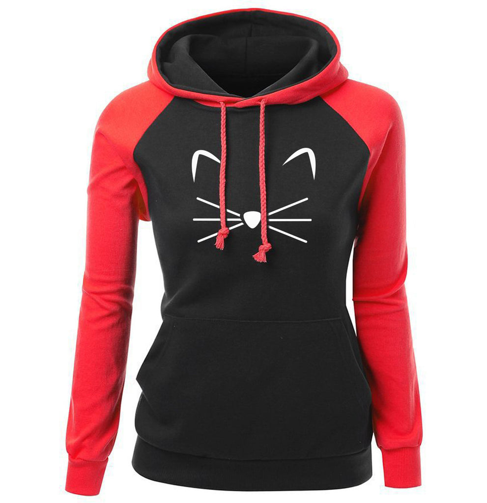 Women Hoodies - Women Hoodie Series Pet Cat Beard Super Cute Fleece Hoodie