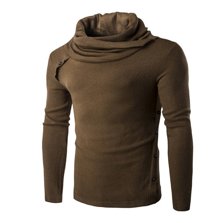 Solid Color Roll Neck Hoodies - Pullover Fleece Black Grey Hoodie