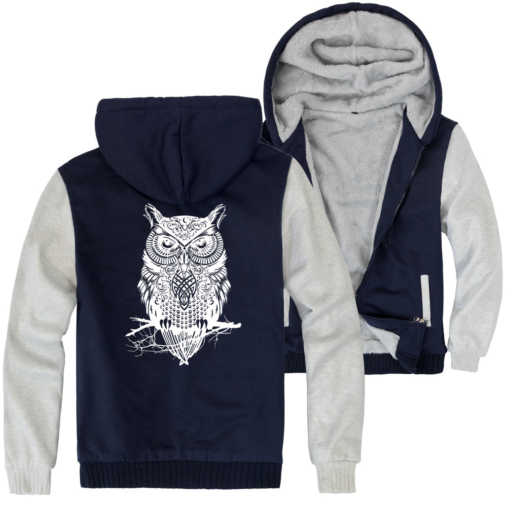 Animal Jackets - Solid Color Animal Series Owl Icon Fleece Jacket