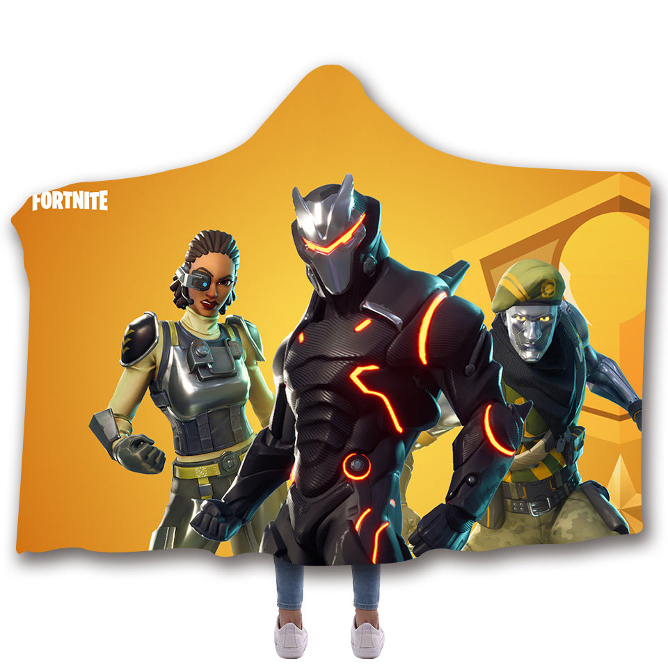 Fortnite Hooded Blankets - Fortnite Omega Yellow Super Cool Fleece Hooded Blanket