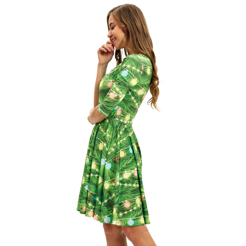 Image of Christmas Dresses - Long Sleeves Xmas Bell Printed Green Dress