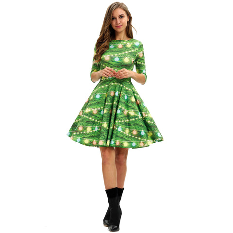 Christmas Dresses - Long Sleeves Xmas Bell Printed Green Dress