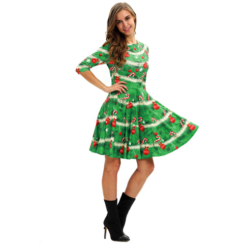 Image of Christmas Dresses - Long Sleeves Xmas Green Dress