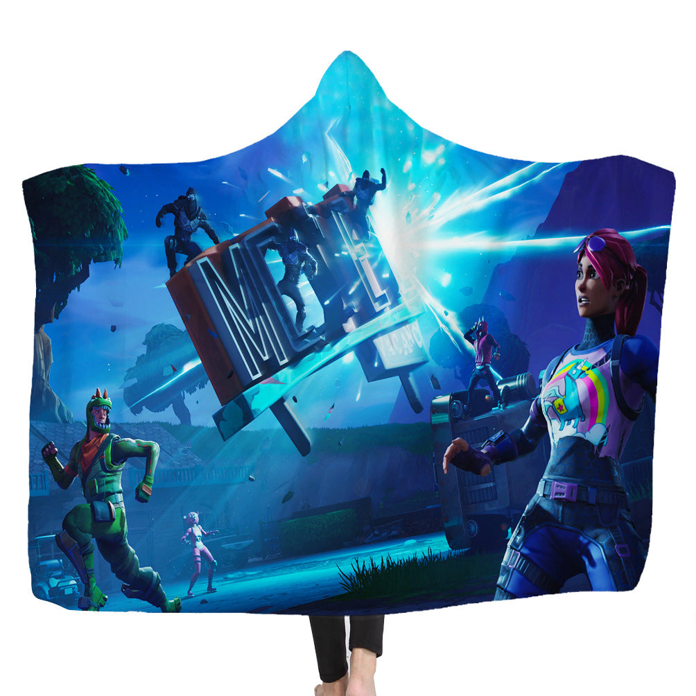 Fortnite Hooded Blankets - Fortnite BRITE BOMBER Blue Fleece Hooded Blanket