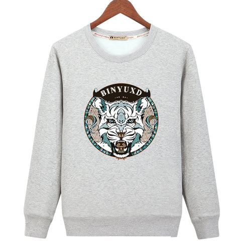 Image of Harajuku Style Sweatshirts - Solid Color Harajuku Style Series BINYUXD Tiger Icon Fashion Fleece Sweatshirt