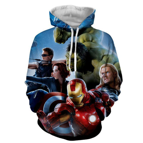The Avengers Iron Man Captain America Thor Hulk Hoodies - Pullover Blue Hoodie