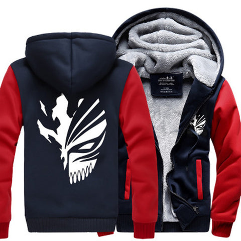 Anime Bleach Kurosaki Ichigo Zip Up Hoodie Thick Fleece Hooded Sweatshirt