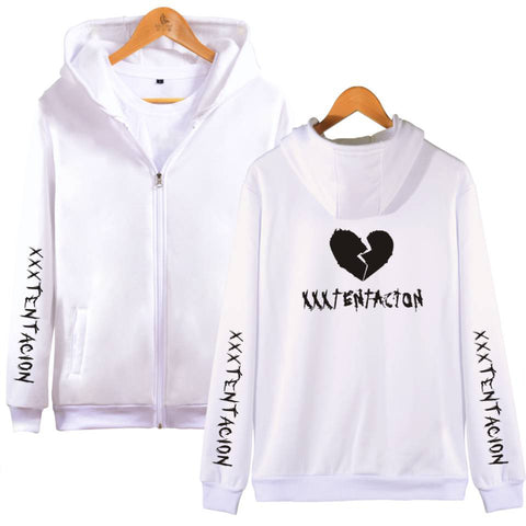 Image of XXXTentacion Hoodies - Solid Color Popular Rapper XXXTentacion Heartbreak Icon Zip Up Hoodie
