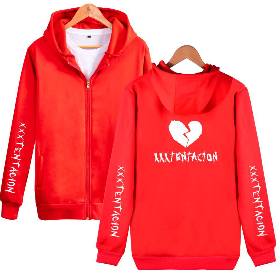 XXXTentacion Hoodies - Solid Color Popular Rapper XXXTentacion Heartbreak Icon Zip Up Hoodie