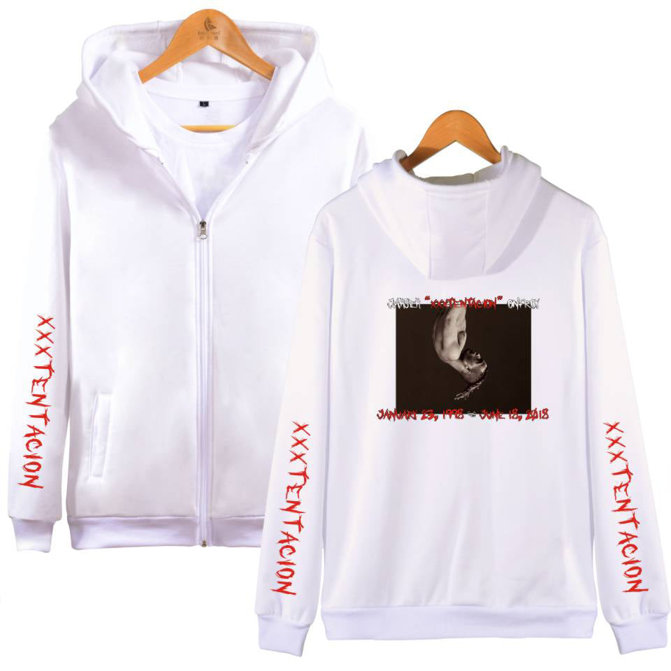 XXXTentacion Hoodies - Solid Color Popular Rapper XXXTentacion Commemorate Icon Zip Up Hoodie
