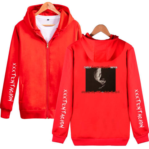 Image of XXXTentacion Hoodies - Solid Color Popular Rapper XXXTentacion Commemorate Icon Zip Up Hoodie