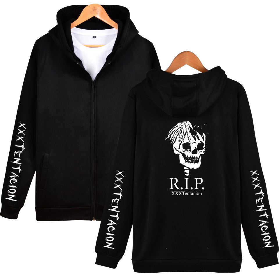 XXXTentacion Hoodies - Solid Color Popular Rapper XXXTentacion RIP Icon Zip Up Hoodie