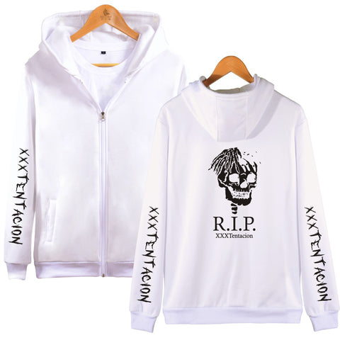 Image of XXXTentacion Hoodies - Solid Color Popular Rapper XXXTentacion RIP Icon Zip Up Hoodie