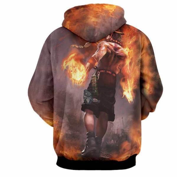 Ace Fire 3D Printed Hoodie One Piece