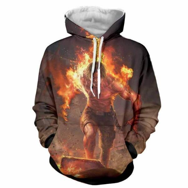 Ace On Fire 3D Printed Hoodie One Piece