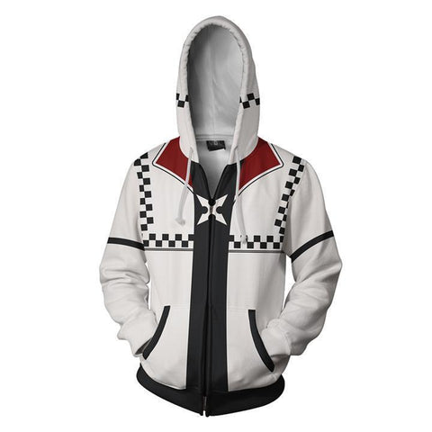 Kingdom Hearts Roxsa Hoodies - Zip Up White-red Hoodie