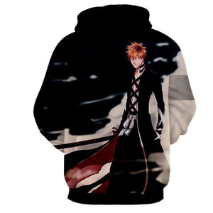 Bleach Ichigo Hoodies - Pullover Black Anime 3D Printed Hoodie