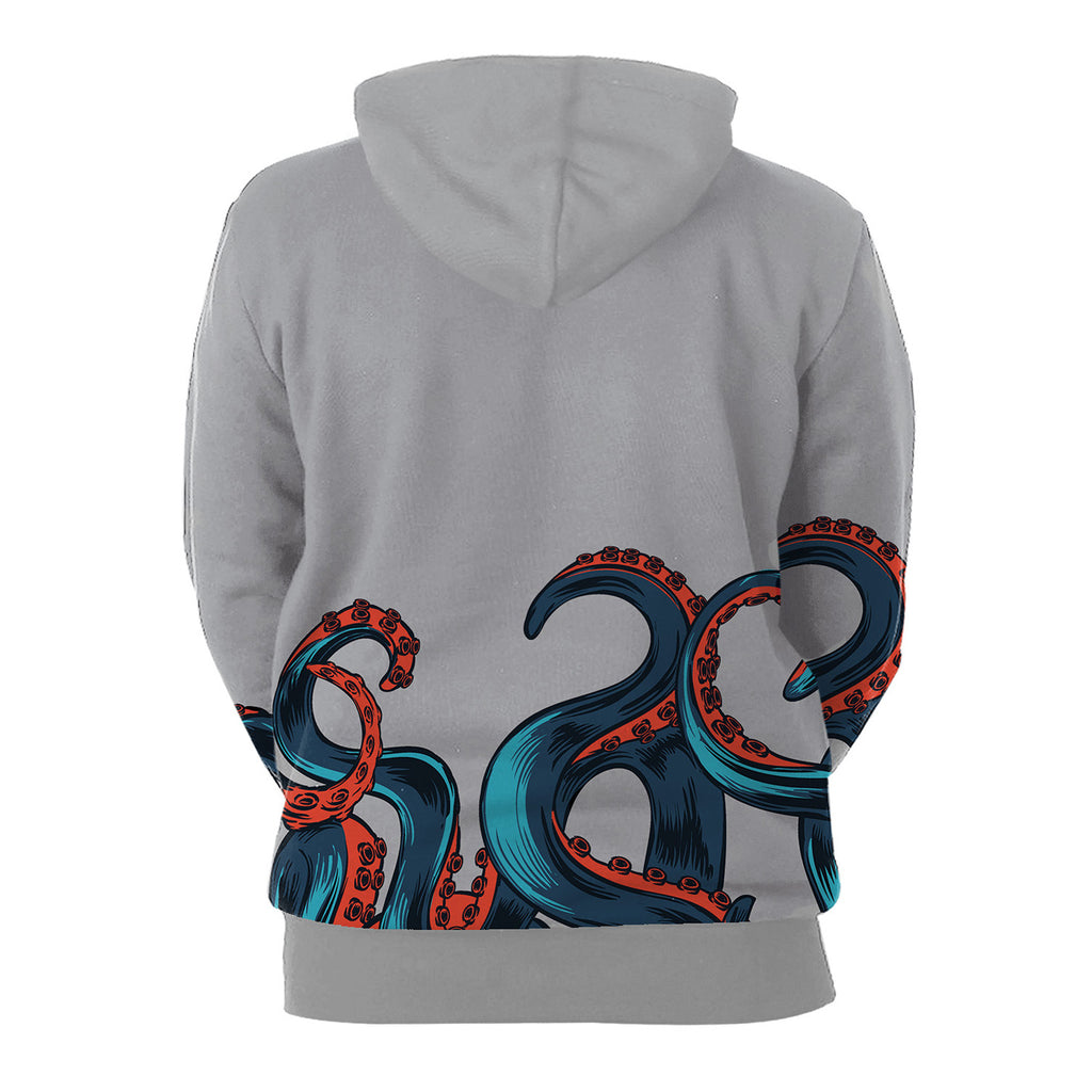 Deep Sea Overlord Big Octopus Digital Print Gray 3D Hoodie
