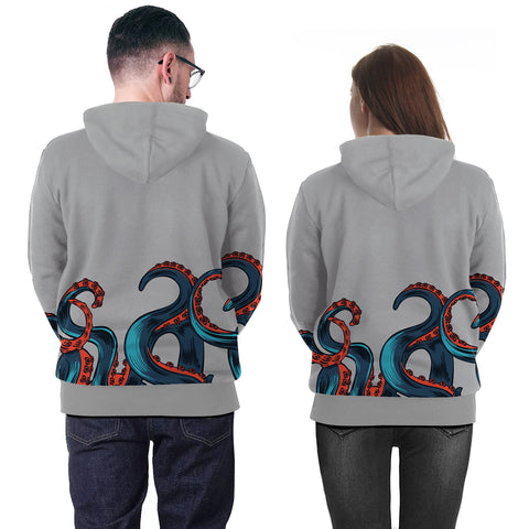 Image of Deep Sea Overlord Big Octopus Digital Print Gray 3D Hoodie