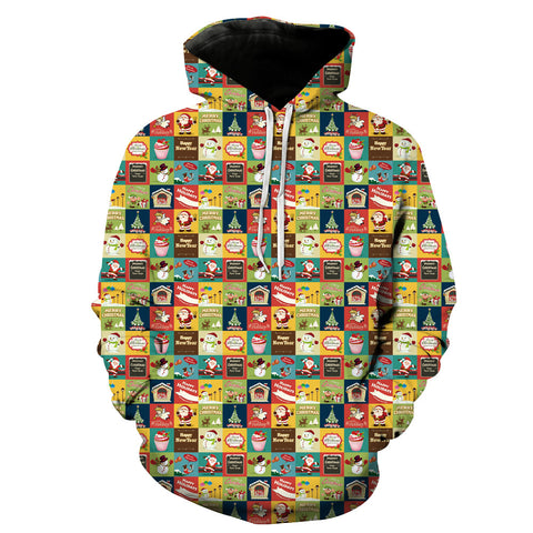 Image of Christmas Hoodies - Cartoon Character Pattern 3D Hoodie