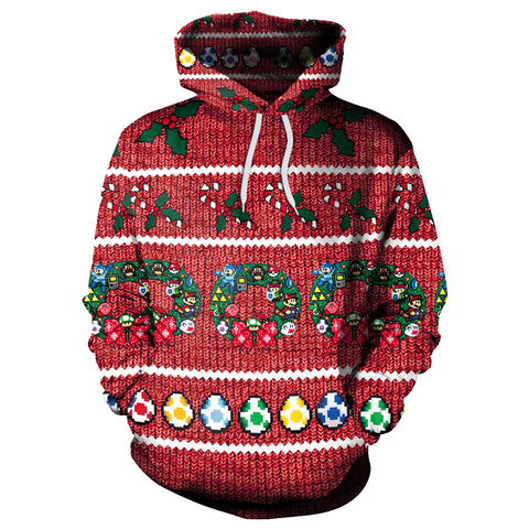 Image of Christmas Hoodies - Christmas Colored Eggs Red 3D Hoodie