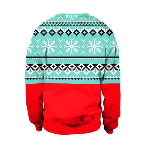 Image of Christmas Sweaters - Snowman 3D Blue Round Neck Sweatshirt