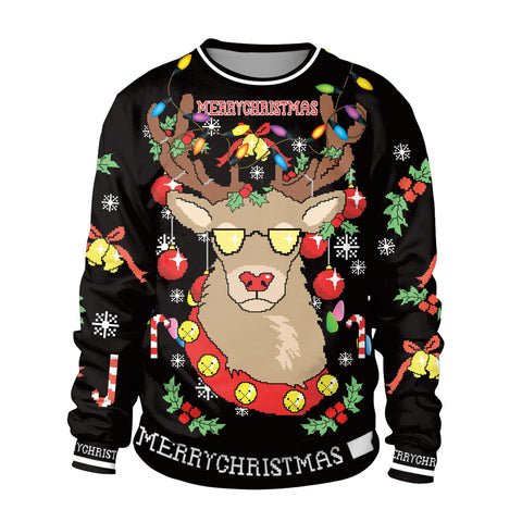 Image of Christmas Sweaters - Glasses Deer 3D Black Crew Neck Sweatshirt