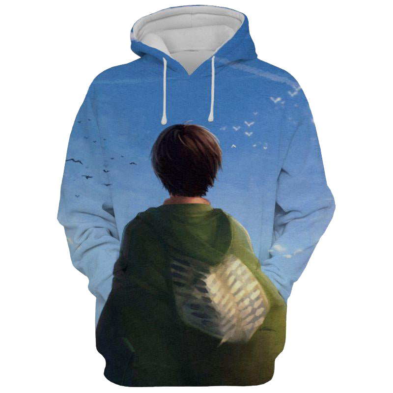 New Blue Attack on Titan 3D Printed Hoodie