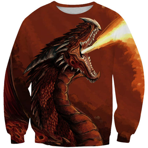 Dragon Hoodies - Red Fire Dragon Fantasy Pullover Hoodie