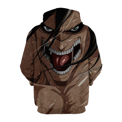 Image of Eren and His Titan Anime- Attack 3D Printed Hoodie