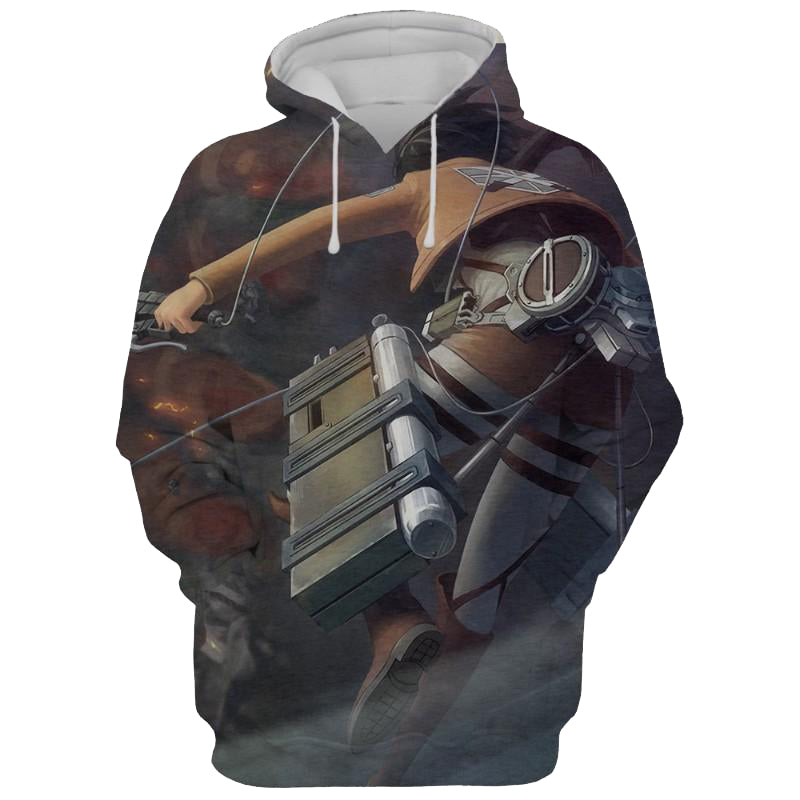 Colossal vs Mikasa Attack On Titan 3D Printed Hoodie