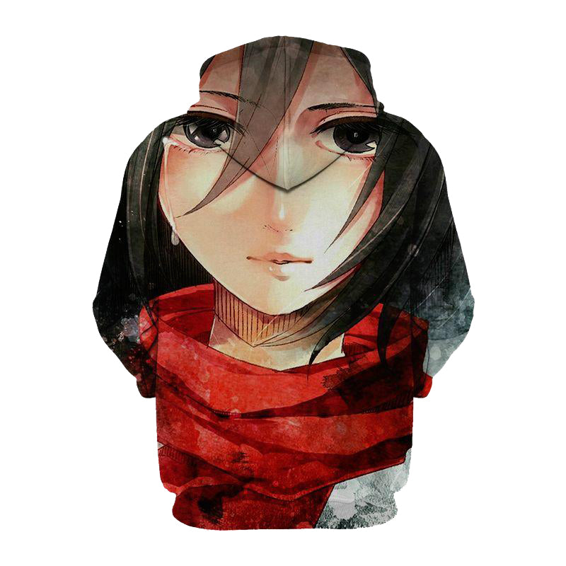 Mikasa Ackerman Attack On Titan 3D Printed Hoodie