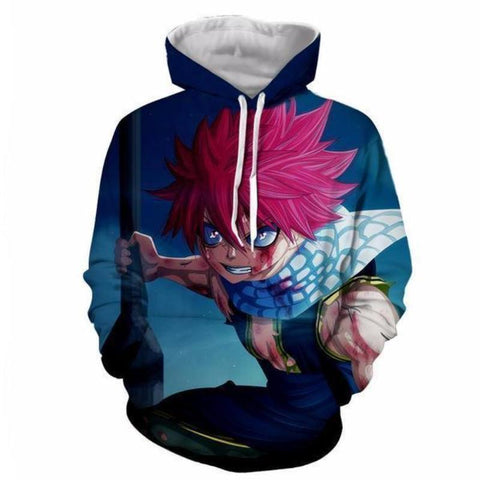 Image of Fairy Tail Natsu Dragneel Blood Blue 3d Printed Hoodie