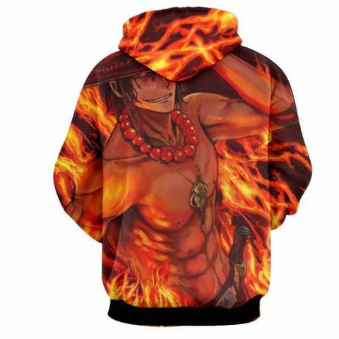 Image of One Piece Fire Fist Ace Fire 3D Printed Hoodie