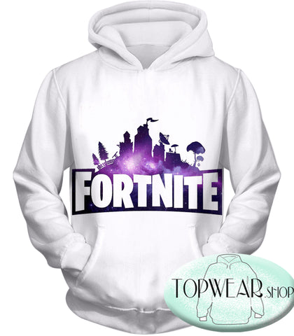 Image of Fortnite Hoodies - Battle Royale White 3D Zip Up Hoodie