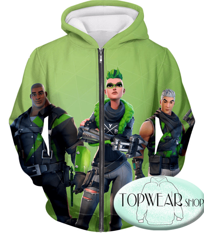 Fortnite Hoodies - Green Rarity Skins 3D Hoodie