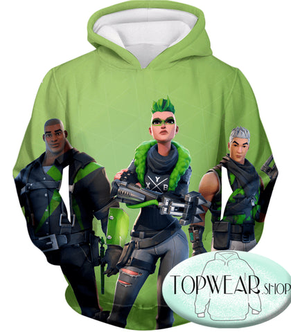 Image of Fortnite Sweatshirts - Green Rarity Skins 3D Sweatshirt