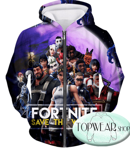 Image of Fortnite Hoodies - Save the World All Heroes 3D Hoodie
