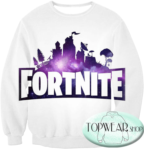 Image of Fortnite Sweatshirts - Battle Royale White 3D Sweatshirt