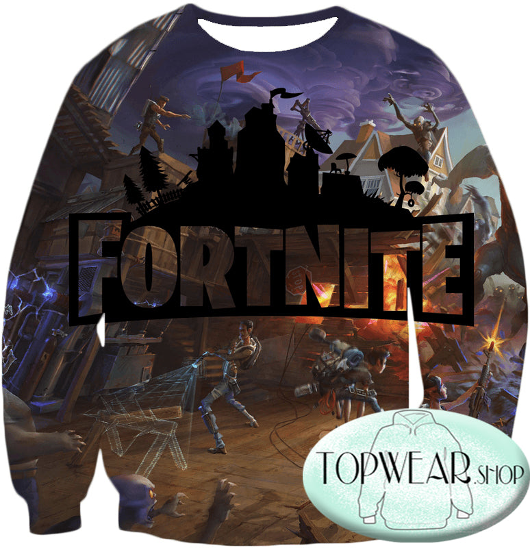 Fortnite Hoodies - Save the World Gameplay 3D Zip Up Hoodie