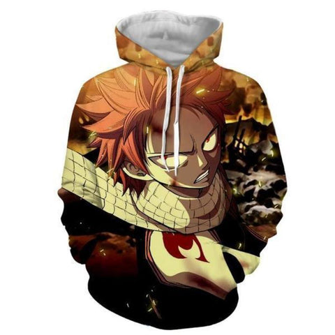 Image of Ginger Designed Natsu Dragneel Fairy Tail 3d Printed Hoodie