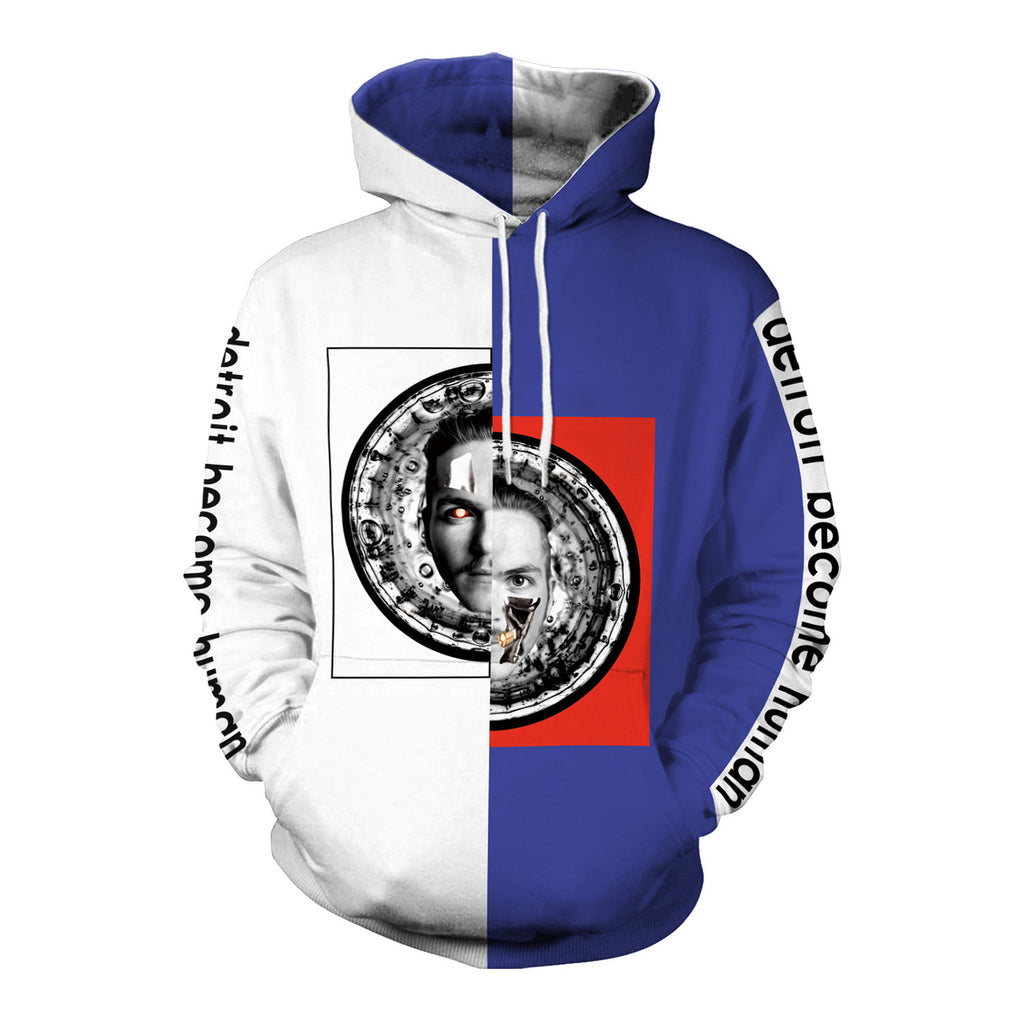 Popular Characters 3D Digital Printing Blue and White Hoodies