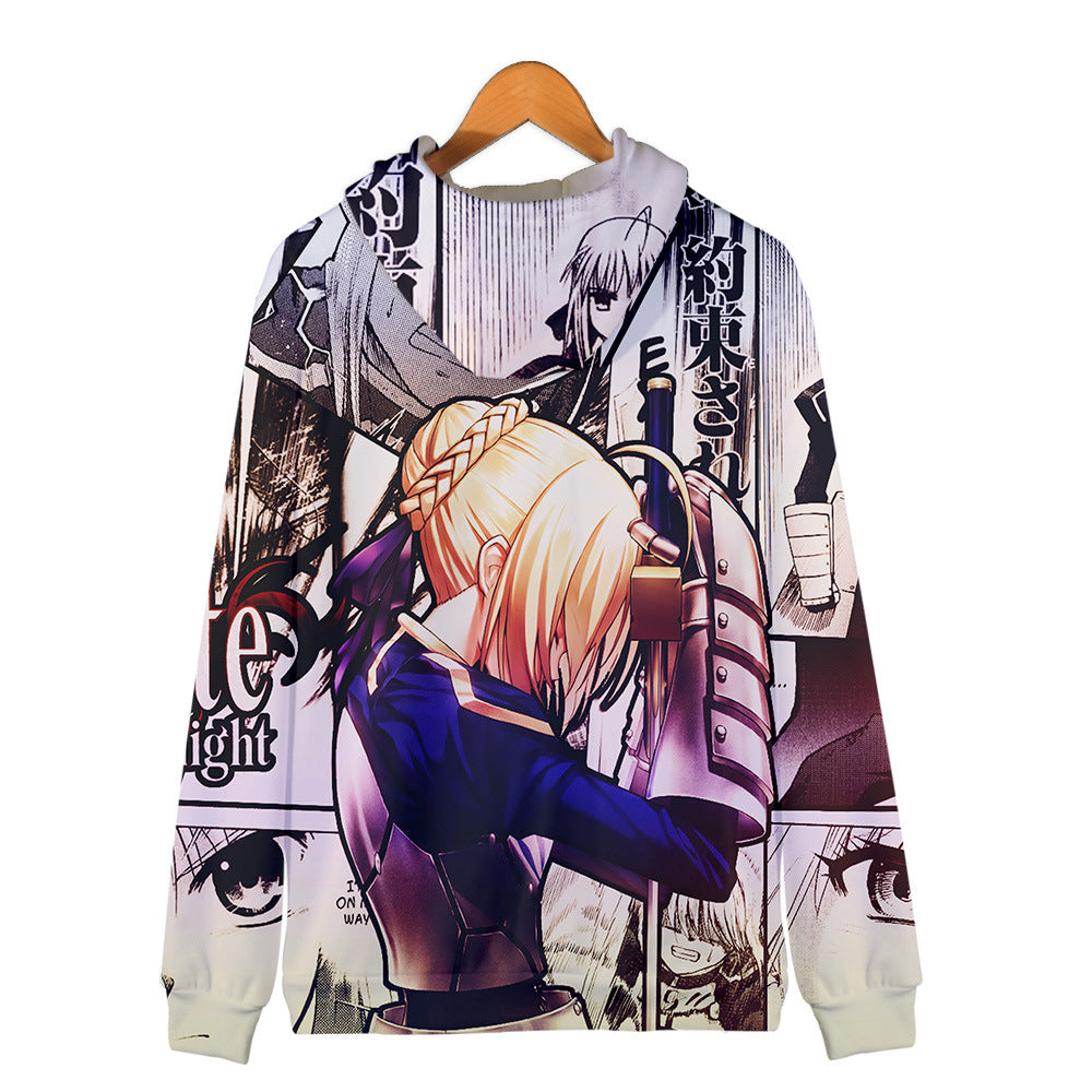 Fate Stay Night 3D Printed Zipper Hoodies - Fashion Hooded Sweatshirt Pullover