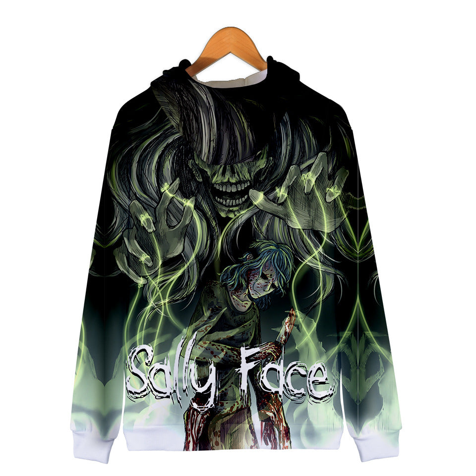 3D Digital Zip Sally Face Hoodies Sweatshirts