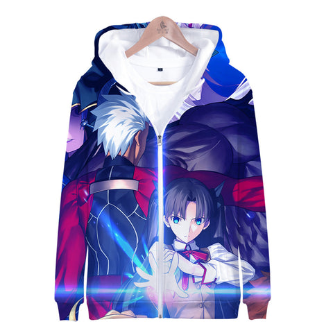 Image of Fate Stay Night 3D Printed Zipper Hoodies - Fashion Hooded Sweatshirt Pullover