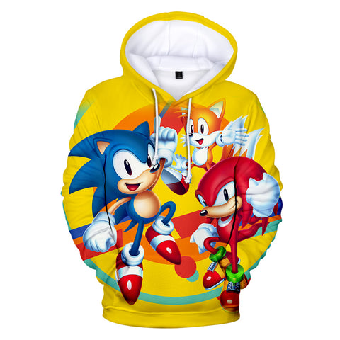 Sonic Mania Hoodie—— Classic Sonic Knuckles Tails Yellow Hoodie