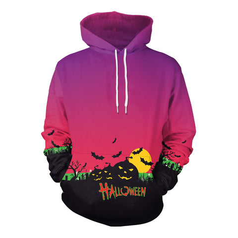 Image of Halloween pumpkin light horror round neck hoodie