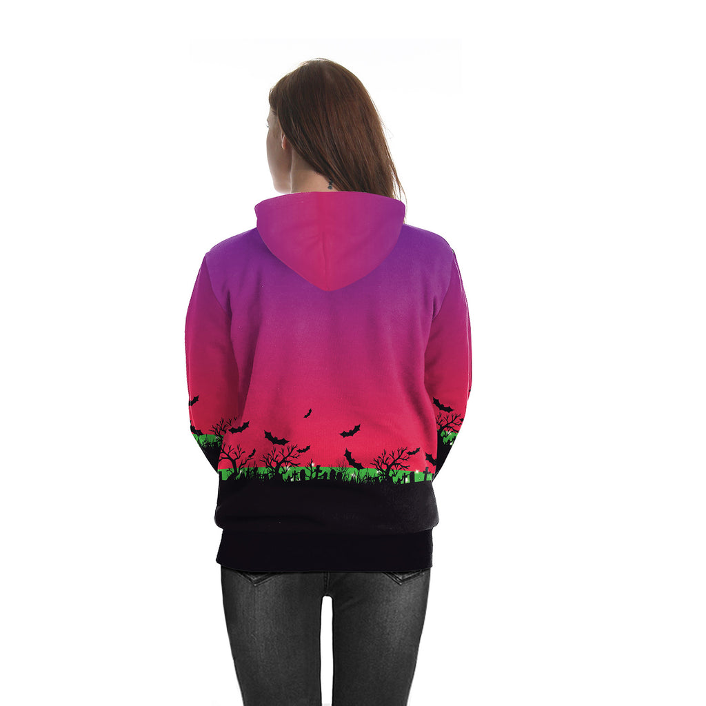Halloween pumpkin light horror round neck hoodie