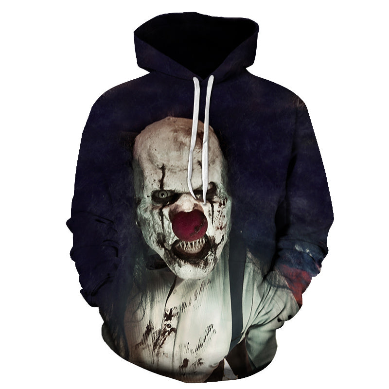 Halloween Clown Devil Print Hoodie