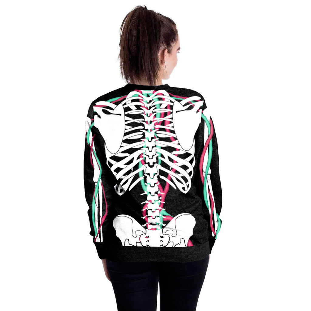 Halloween skeleton round neck Sweater